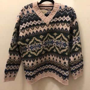 Abercrombie & Fitch Wool Fair Isle V-neck Sweater